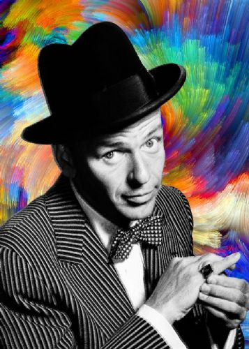 FRANK SINATRA - PEN SKETCH COLOUR SWIRLS - canvas print - self adhesive poster - photo print